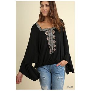 Black Square Neck Embroidered Blouse Bell Sleeve